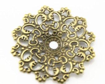 12 pcs of filigree pendant charm 45mm-1595-antique bronze