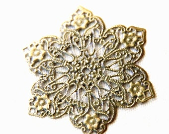 12 pcs of brass filigree charm pendant 62mm-1623-antique bronze