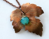 Leaf Necklace Vintage Gold Copper Leaf Pendant Charm Aqua Green Blue Bead Gift For Her Lillian Fine Jewelry