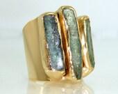 Kyanite Ring, Raw Gemstones Ring, Cocktail Ring, 24K Gold Adjustable Wide  Band Ring, Gold ring, Statement Kyanite Ring, By Inbal Mishan.