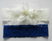 Wedding Garter, Bridal Garter, Blue Garter, Lace Garter, Wedding Garter Set, Bridal Garter Set, Garter Belt,  pearls, ivory silk flower