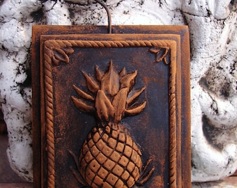2 tier Blackened Beeswax PINEAPPLE Primitive Wall Art Folk Art Springerle Highly Embossed Ornament # 000131BB