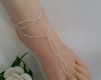 Crystal Bridal Barefoot Sandal & Anklet Set Crystal Wedding Foot Jewelry