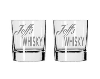 Personalized Whisky Glass Pair  - Deep Etched Straight Sided Rocks Glass, Whisky Glass, Personalized Rocks Glass, Custom Whisky Glass