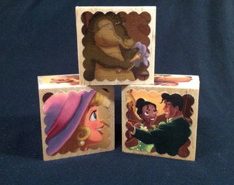 """Princess (Tiana) & the Frog Storybook Blocks - Set of 3 Wooden Blocks, 2.5"""" cubes, featuring 18 different storybook illustrations"""