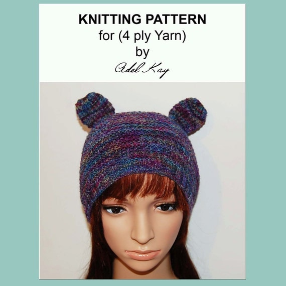 Knitting Pattern For Beanie With Ears : Knitting Pattern PDF Document Aimee Ear Bear Animal Beanie 4