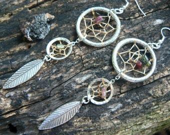 dreamcatcher earrings tourmaline festival earrings boho earrings feather earrings new age zen boho hipster hippie tribal  gypsy style