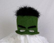 Custom Knit Incredible Hulk Hat with Eye Mask and Hair