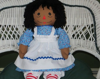 Traditional African American Personalized Raggedy Ann Doll 25 inches tall Handmade in the USA