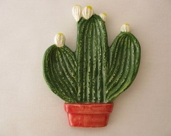 Green Cactus Teabag Holder, Spoon Rest or Trinket Dish