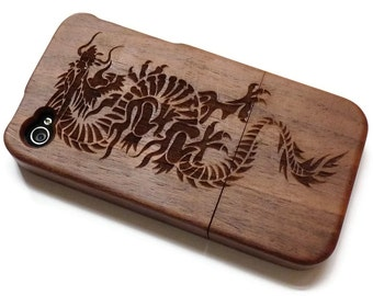 wooden Iphone 4 case / iphone 4S case - wood iphone 4 case bamboo, cherry and walnut wood - Dragon - laser- engraved
