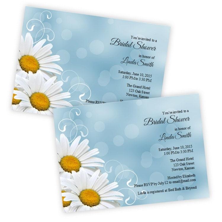 Bridal Shower Invitations White Daisies DIY Printable