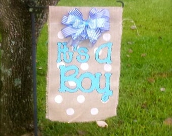 It's A boy burlap garden flag