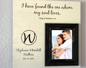 Monogram Wedding photo frame or anniversary picture frame (I have found the one my souls loves) Song of Solomon  16x16 by Frame your Story