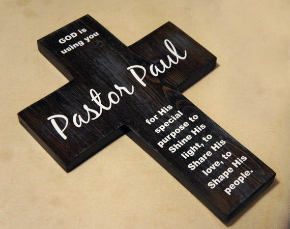 Pastor appreciation gift Personalized Pine Wood Cross with