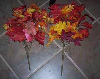 fall foliage floral bush,oak leaves or maple leaves,fall colors,red,yellow,orange mix,17-19 inch,11 branches,fall floral foliage