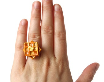 Waffle Ring - Food Jewelry, Maple Syrup, Food Ring