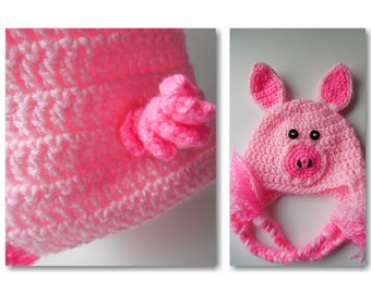Piggy Baby Hat and Diaper Cover Set - Pink with Hot Pink - Handmade Crochet - Made to Order