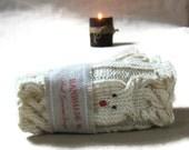 Hand knit fingerless gloves Animal mittens in vanilla Reindeer hand warmer Winter accessories