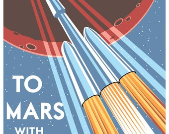 To Mars with SpaceX - Poster Print