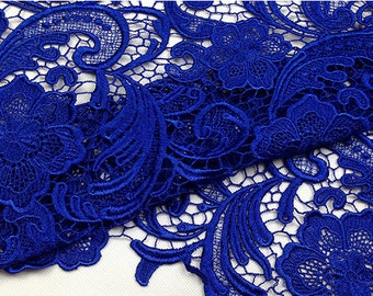 blue guipure lace fabric,  blue venise lace fabric, bridal lace fabric, guipure lace fabric
