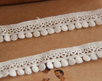 2 yards cotton lace trim, white thin trim lace