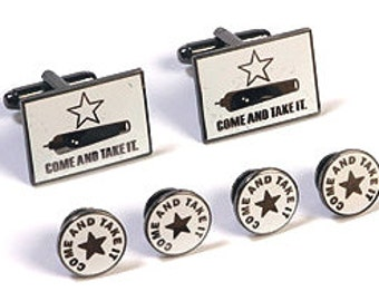 Groomsmen Gift. Come And Take It, Gonzales Flag Cuff Link & Tuxedo Set. Best Man Gift. Usher Gift. Father of the Bride. Groom Gift
