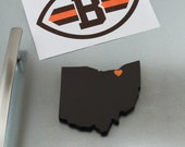 "Cleveland Browns ""State Heart"" Magnet, handcrafted wood with official team colors"