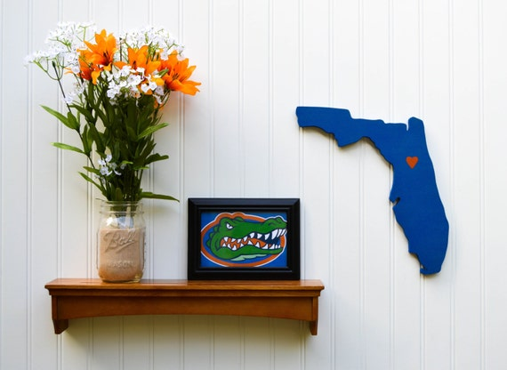 """Florida Gators """"State Heart"""" wall art, handcrafted wood with official team colors"""
