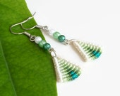 Delicate green triangle macrame earrings, knotted ombre fashion jewelry dangle earrings with beads, macrame jewelry