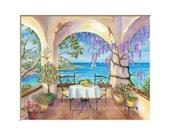 Ocean Balcony art print, ocean pictures, seaside painting, villa, resort living, Italy art, ocean painting,  landscape painting, 11x14 print