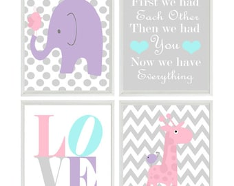 Nursery Art Elephant Giraffe Chevron Polka Dot  Prints - Pink Purple Aqua Gray Wall Art  Love Baby Girl Decor First We Had Each Other Quote