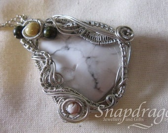 Large marble wire wrapped cabochon pendant with gemstone accents