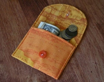 Small Coin Purse in Desert Orange Fabric Credit Card Holder Gift Card Holder Button Closure