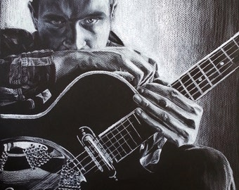 "Dramatic original colored pencil portrait ""Dave With Guitar"" available in Giclee in various sizes"