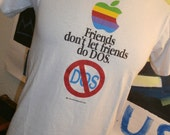 Vintage Old School 1991 Apple Computer Macintosh Friends Dont Let Friends Do DOS t-shirt by Lee. 1990's sz. Small