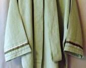 262 Seafoam Green 100% Linen T-Tunic with Matching Wrap Belt and Ribbon Trim