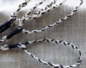 234-1 Linen Sapphire (Dark) Blue and White Braided Loop Tzitzit Fringes