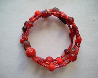 Glass Bead Memory Wire Bracelet