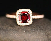 14k Rose Gold 6mm Crimson Red Garnet Cushion and Diamonds Single Halo Ring (Choose color and size options at checkout)