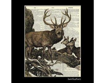 Elk Illustration - Dictionary Art Print - Book Page Art Print - Nature Print No. P357