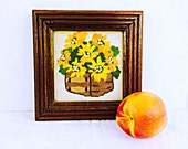 1960s Crewel Flowers Orange and Yellow Framed Ready to Hang Embroidery Needlecraft