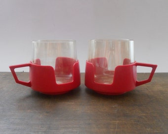 Soviet Vintage teacups Plastic glass cups Red tea cups USSR era 1970s kitchen