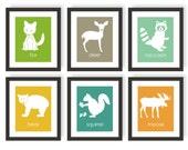 Forest Animal Nursery Art - Woodland Nursery Decor, Raccoon Art, Squirrel Nursery Art, Bear Nursery, Moose, Deer Art, Forest friends