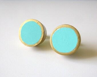 Turquoise and gold stud earrings, wood post earrings, colorblock earrings