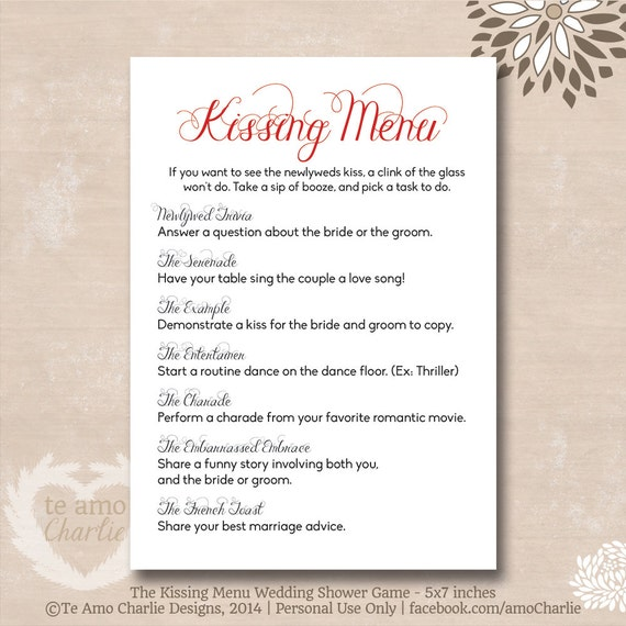 Items Similar To The Kissing Menu Wedding Game