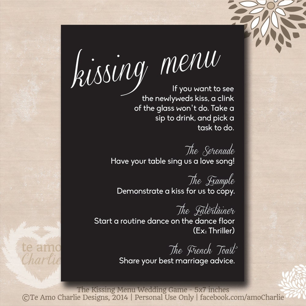 Wedding Games Ideas For Reception: The Kissing Menu Wedding Game Wedding Game By PalmBeachPrints