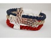 Silk Rope/Sideway Hammered Cross Adjustable Bracelet/Red, Tan, Navy