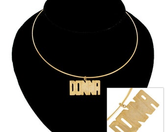 Necklace Choker Bangle Name Donna Cheryl Gold Tone Vintage 70s