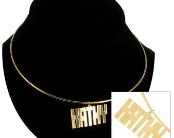 Necklace Choker Bangle Name Kathy Judy Gold Tone Vintage 70s